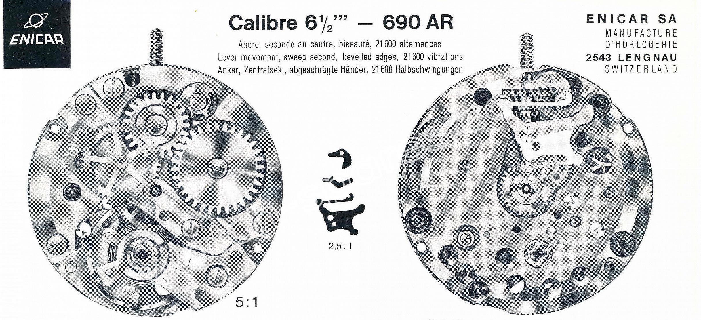 Enicar AR 690 watch movements